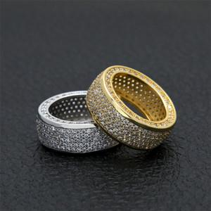 2019 nova bling hip hop anel de prata banda de ouro com zircão para o homem moda jóias top quality