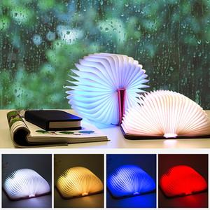 New LED Book Lights Folding Novetly Portable Desk Lamps USB Interface Mini Size White Kraft Paper Book Colorful LED Night Light Lamp
