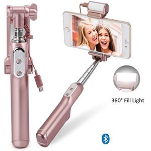 블루투스 미니 Selfie 스틱 핸드 헬드 확장 가능한 모노 포드 후면 미러와 LED 플래시 라이트