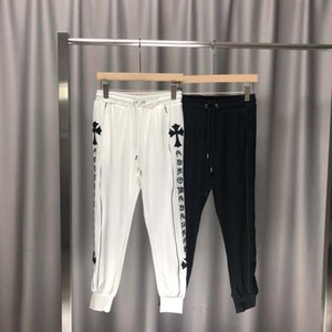 New Men's Trousers Early Autumn Joint Name Ins Wind Stereo Embroidery Black and White Stitching Zipper Closed Velvet Casual Pants nm0