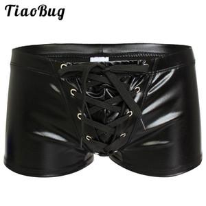 Mens Sexy Kunstleder Shiny Boxer exotischen Unterwäsche Homosexuell männlich Latex Wetlook Shorts Höschen Bikini-Badebekleidung Kühle Fetisch-Wäsche