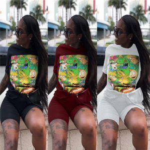 Femmes d'été 2Pcs Cartoon Pantalons ras du cou imprimé à manches courtes Mode Femalel Vêtements Solide Couleur Vêtements décontractés