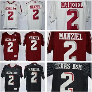 NCAA Texas AM Aggies 2 Johnny Manziel Jersey uomini uomo Bambini Gioventù Rosso Uomo Nero Bianco College Football cucito Buono vendita calda
