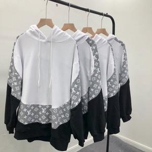 19ss Europa Italia Vecchio fiore cuciture di contrasto di colore pullover con cappuccio maglione a tre colori mosaico di stampa grigia con cappuccio delle donne degli uomini con cappuccio Sweatshi
