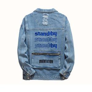 Ripped bolsos plissado Denim Jackets Carta bordado costas de Mcikkny Primavera Homens Outono para Blue Masculino