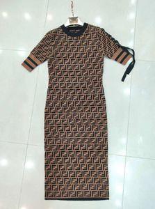2019 Xia lettre Jacquard F jupe longue robe de tempérament Quzhu bonne place de l'usine de la qualité réelle shotA21