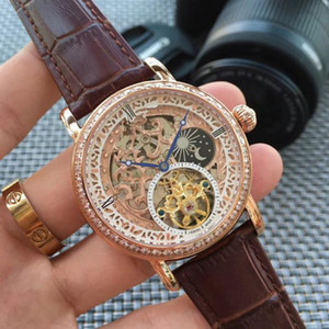 Hollow-out mechanical watch  high-grade real belt business automatic mechanical men's watch  decoration moon phase