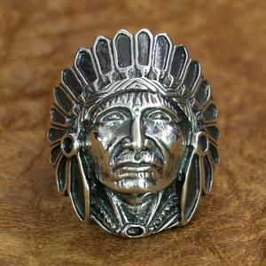 925 الفضة الاسترليني الهندي رئيس الدائري رجل السائق الشرير الدائري TA196 الولايات المتحدة الحجم 7 ~ 15 شحن مجاني