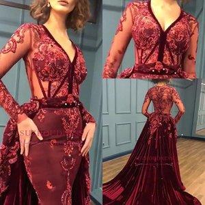 2019 Vintage Borgogna Velluto a sirena Prom Dresses Maniche lunghe Profondo scollo a V Perle di pizzo Abiti da sera Formali Abiti da festa per le donne BC0731