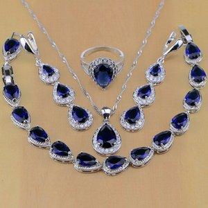 925 Sterling Silver Jewelry White CZ Blue Zircon Jewelry Sets For Women Earrings Pendant Necklace Rings Bracelet