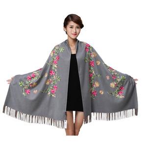 Whhite bordar flor Pashmina bufanda de cachemira para mujeres de invierno cálido borlas finas bufanda del mantón de moda bufandas 011807