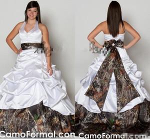 2019 plus taille de mariage camo robes de mariée une ligne halte plis froncé veaux veau robe de mariée de mariage en satin 2019 fabriqué sur mesure