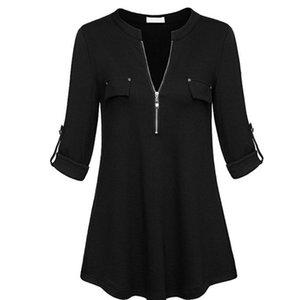 gasa de las mujeres con cuello en V blusas con puño de la manga del color sólido de cremallera hasta ocasional atractivo botón adelgazar tapas de la camisa 2019 la moda de Nueva