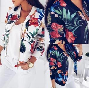 Cores Jaquetas Mulheres Floral Flor Imprimir Retro Ladies Zipper Up Curto slim Bomber Jacket Coats Básico Casacos Casual