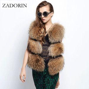 Chaleco sin mangas Zadorin otoño invierno manera de las mujeres de piel falsa perro piel del mapache chalecos Gilet Manteau Fourrure Femme Chaleco S-2XL