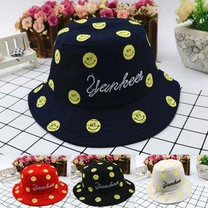 Unisex Colorful Smile Design Pieghevole da pesca per ragazze Ampio bordo bianco e nero Protezione solare Cappello da pescatore estivo