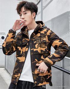 Hombres de camuflaje diseñador chaqueta de manga larga con capucha para hombre de vestir exteriores primavera rompevientos manera imprimió la cremallera Hombre Ropa