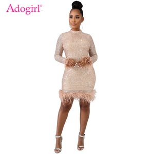 Adogirl 2019 New Feather Sequins Dress Mock Neck Long Sleeve Bodycon Mini Night Club Party Dresses Women Sexy Vestidos Outfits