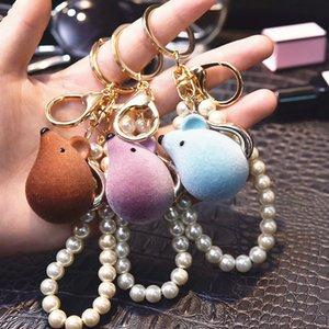 Creative Flocking Pearl Rat Keychain Sweet Bell Pendant Couple Romantic Car Key Ring Cartoon Doll Jóias Acessórios