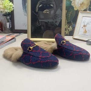 WITHBOX diseñador de moda Princetown mulas piel de pisos señoras de la cadena calzados informales de la lana de las mujeres de los hombres de piel zapatillas zapatilla de cuero genuino tamaño 35-46