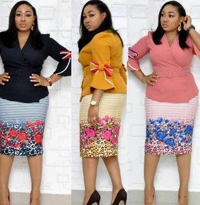 Womens Designer Tracksuits Plus Size Blumenmuster 2 Stück Kleid Schärpen Flare Ärmel V-Ausschnitt-Klagen der Frauen Trainingsanzüge Damen Kleidung