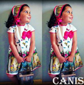 Verano Niño Niños Niñas Pintura al óleo Mariposa Lindo Vestido suelto Vestido de niña Bebé Floral Princesa Vestidos Vestidos Ropa