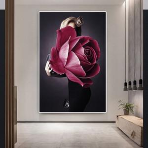 Mode Femme Fleur Portrait Toile Peinture à l'huile nue Sexy Girl Poster Prints Résumé Figure Wall Art Image pour le salon Décoration