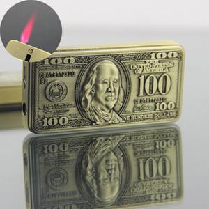 100 Dollar Originalité déroulante Type Briquet coupe-vent léger inflation Briquet