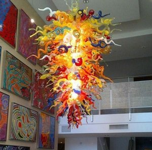 Multi cor grandes lâmpadas cristal candelabros de cristal iluminação para espaços de teto alto sala de jantar mão soprada arte pingente de vidro
