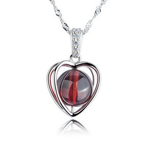 100% 925 стерлингового серебра ожерелье Прекрасные сердца чистого натурального Гранатовый ожерелья изящных ювелирных изделий Рождественский подарок