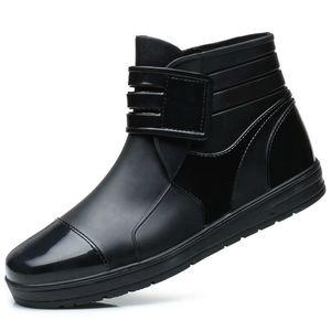 Мода ПВХ Водонепроницаемый RainBoots Водонепроницаемые Плоские Туфли Мужчины Черные Rainboots Синие Резиновые Ботильоны Пряжка Botas