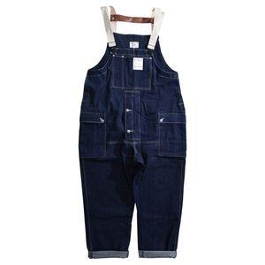 Maschio Giappone Harajuku Streetwear Hip Hop tuta Salopette Pantaloni Jeans Tuta Uomini casuale allentata pantaloni larghi del piedino Denim Cargo