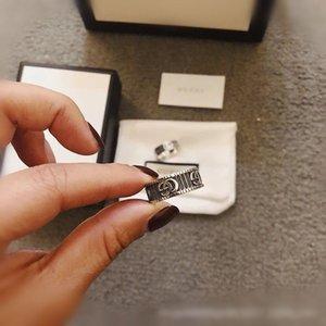 상자 2,020 도매 G 패션 고급스러운 고품질의 고급 실버 구찌 스탬프 반지 여성 남성 쥬얼리 웨딩