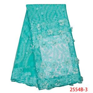 Бирюзовая Зеленая вышивка тюль кружевная ткань 2019 популярная Африканская кружевная ткань с бисером последние 3D кружевные ткани для свадьбы APW2554B