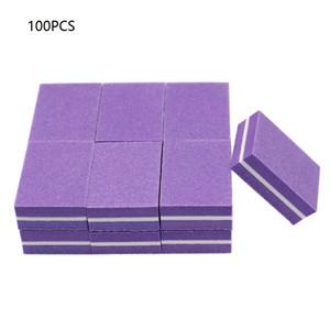 NAD005 100pcs frente e verso Mini Blocos lixa de unhas coloridas prego Sponge Polish Tampão lixar Tiras Ferramentas Polimento Manicure