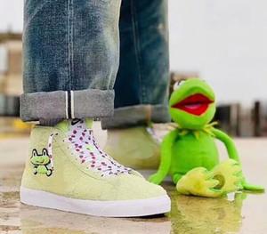 2019 Nova SB ZOOM BLAZER MEIO QS Moda Verde Tênis de Corrida de Alta Qualidade homens Sapo Príncipe Das Mulheres Sapatos de Skate Barato Venda Esportes Sneakers 36-44
