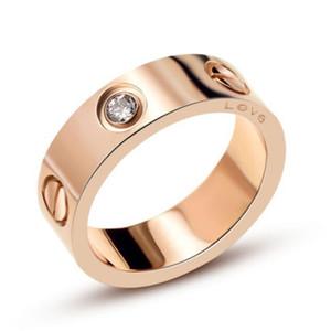 Titane Acier De Mariage Marque Designer amoureux anneau pour les femmes de luxe zircone bagues de fiançailles hommes bijoux en gros cadeaux Accessoires De Mode