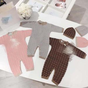 Newbron bebê malha macacão infantil crianças Moda Crochet Projeto Jumpsuits uma peça de escalada + chapéu Bebe Roupas