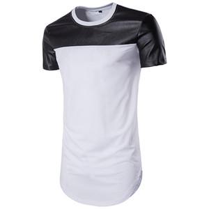 Mens Designer camisetas PU de couro com painéis Moda manga curta Tops Mens Casual Summer Long T-shirts
