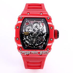 Top Nuovi 35-02 Miyota 6T51 scheletro automatico quadrante RM35-02 fibra Mens Watch Rafael Nadal Red Carbon Caso di gomma della cinghia Orologi Hello_Watch