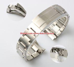 Topselling 21mm de alta qualidade Sea-Dweller Assista Bandas Strap 316L pulseira de aço fivela de implantação de segurança Fecho dobrável Para 116660 Relógios