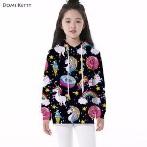 Domi Ketty niños bebé sudaderas con capucha de impresión unicornio donut niñas niños ocasionales de manga larga sudaderas niños de dibujos animados pullover ropa