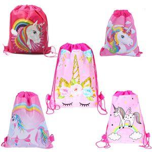 Tejido Sling de dibujos animados del unicornio con asas de bolsas para no niños mochilas escolares unicornio Bolsa Niños Niñas Fiesta de cumpleaños regalo de la bolsa 34 * 27cm