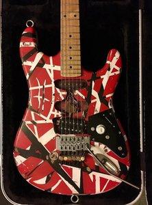 Edward Eddie Van Halen Frankenstein Siyah Beyaz Çizgili Kırmızı Ağır Relic Elektro Gitar ST Şekli Akçaağaç Boyun, Floyd Rose Tremolo Kilitleme Nut
