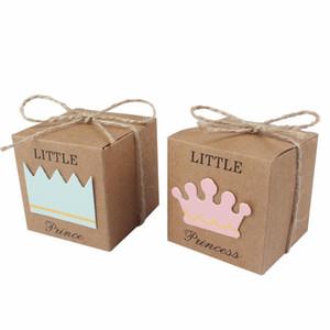 Kız Erkek doğum günü için 50pcs Bebek Şeker Kutusu Küçük Prens Little Princess Taç Kraft Kutular Mavi Pembe Şeker Kutusu Box Favors