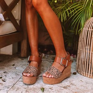 Leopard Fish Mouth Women wedges Sandals Retro Middle Heels Open Toe Ladies Shoes Buckle Strap hollow out Shoes Casual sandals MX200620