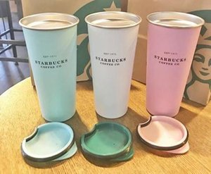 4colors New Starbucks Stainless Steel Mug Candy Color INS Desktop Mug Coffee Cup Fashion Couple 16OZ Mugs Free Shipping
