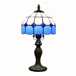 Средиземноморская простой синей решетка застекленной лампы Тиффани гостиный столовая кабинет спальня небольшие настольная лампа TF054