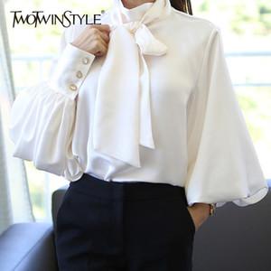 Twotwinstyle Laterne Hülsen-Satin-Shirts Bluse Frauen schnüren sich oben beiläufige Blusen Weibliche koreanische Kleidung Plus Size Herbst 2018 Y190427