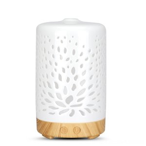 Ceramic Ultrasonic Aroma Diffuser Air Humidifier Purifier Atomizer Essential Fragrances Home Dcor Oil Diffuser with 7 Color Night Lights for